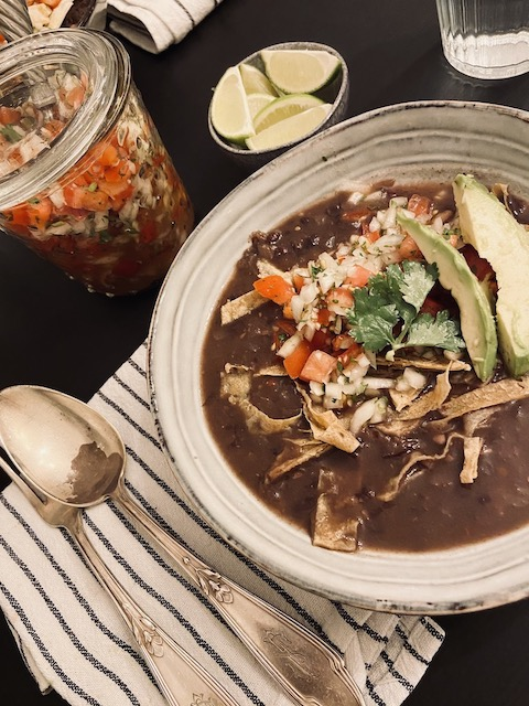 Instant Pot Black Bean Soup Vegan and Oil Free